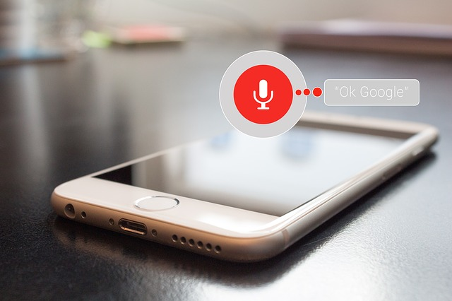 voice search optimization on a phone, common among web development trends